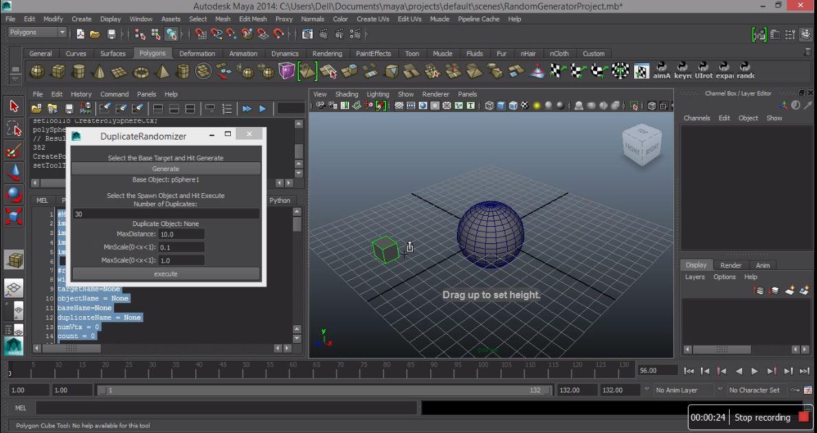 3D designing on maya using python